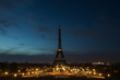 Pre-dawn at the Eiffel Tower in Paris, France
