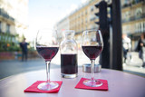 Red Wine on an outdoor table in a French Cafe - 202554819