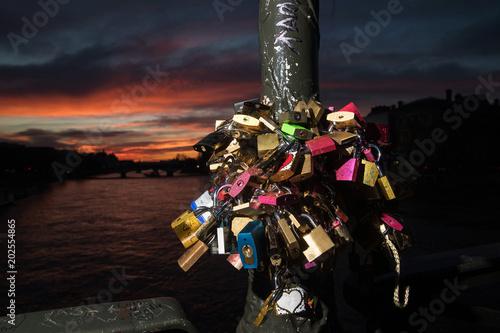 Love locks locked on a Seine River Bridge in Paris, France Poster