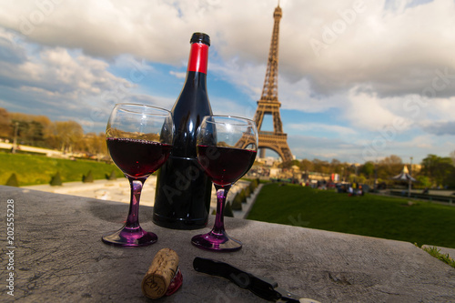 French Wine at they Eiffel Tower in Paris, France - 202555228