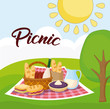landscape with picnic blanket with food, colorful design. vector illustration