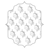 decorative arabic frame with cute unicorns design over white background, vector illustration