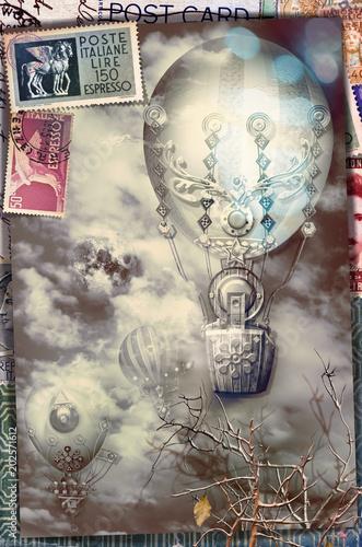 Canvas Imagination Cartolina vintage con mongolfiere in volo e francobolli di posta aerea