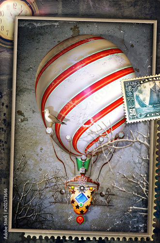 Canvas Imagination Vintage postcard, stamp and collage with hot air balloon