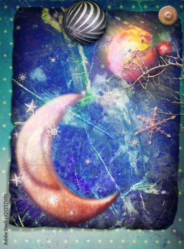Aluminium Imagination Luna fiabesca con pianeti e astri fantastici