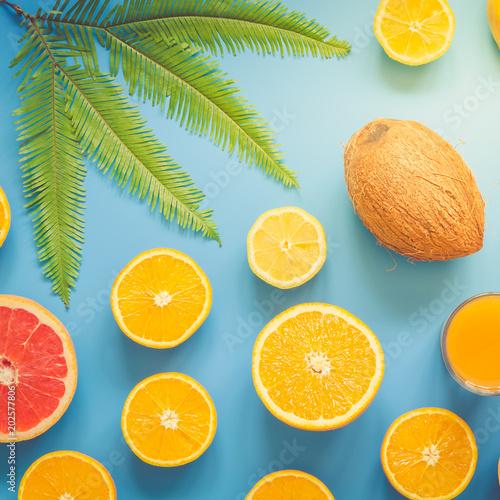 Kolorowe owoce tropikalne i cytrusowe w plasterkach z liści palmowych na niebieskim tle