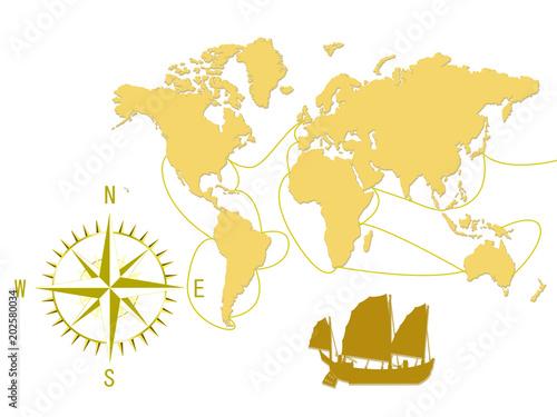 Fotobehang Wereldkaarten 世界地図 古い世界地図 コンパス 羅針盤 帆船 方位磁石 グローバル
