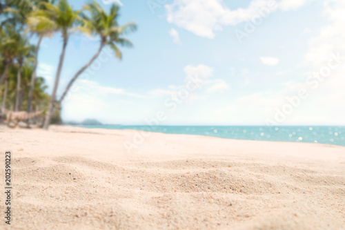 Foto Murales A seascape tropical beach. blur and bokeh light of seascape background, vintage color style. Focus on foreground.
