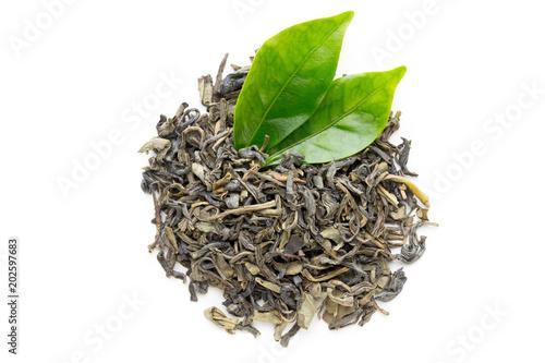 Fototapeta Green tea leaf isolated on white background.