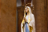 Pavia, Italy. December 2 2017. The statue of Our Lady of Lourdes in the