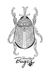 Print of decorative ornamental beetle in contour. Black and white insect with ornament