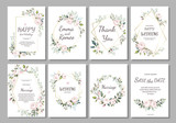 Fototapety Set of card with flower rose, leaves and geometrical frame. Wedding ornament concept. Floral poster, invite. Vector decorative greeting card or invitation design background