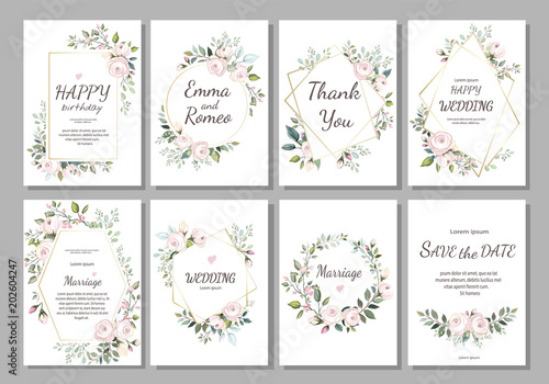 Set of card with flower rose, leaves and geometrical frame. Wedding ornament concept. Floral poster, invite. Vector decorative greeting card or invitation design background - 202604247