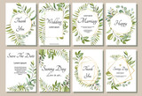 Set of card with forest leaves. Wedding ornament concept. Floral poster, invite. Vector decorative greeting card or invitation design background - 202604443