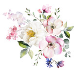 decorative watercolor flowers. floral illustration, Leaf and buds. Botanic composition for wedding or greeting card.  branch of flowers - abstraction roses, romantic - 202604898