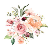watercolor flowers. floral illustration, Leaf and buds. Botanic composition for wedding or greeting card.  branch of flowers - abstraction roses, hydrangea - 202605206