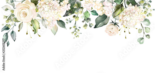 arrangements with watercolor flowers. floral illustration. Botanic composition for wedding or greeting card.  branch of flowers - abstraction roses - 202605217