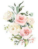 watercolor flowers. floral illustration, Leaf and buds. Botanic composition for wedding or greeting card.  branch of flowers - abstraction roses, hydrangea - 202605417