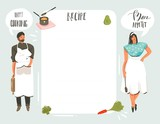 Hand drawn vector abstract modern cartoon cooking studio illustrations recipe card templete with people,food,vegetables and handwritten calligraphy isolated on white background - 202605837