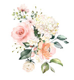 watercolor flowers. floral illustration, Leaf and buds. Botanic composition for wedding or greeting card.  branch of flowers - abstraction roses, hydrangea - 202605871