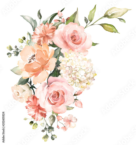 watercolor flowers. floral illustration, Leaf and buds. Botanic composition for wedding or greeting card.  branch of flowers - abstraction roses, hydrangea - 202605824