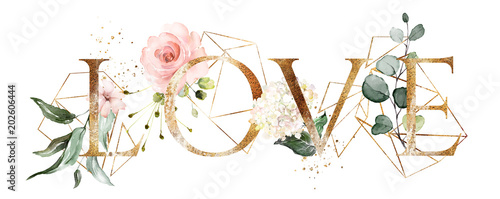 watercolor illustration with wild flowers, herbs, rose. Cool print on T-shirt with geometric shape.  Lettering - love - 202606444