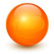 Orange sphere, 3D vector ball.