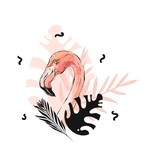 Hand drawn vector abstract graphic freehand textured sketch pink flamingo and tropical palm leaves drawing illustration print with modern confetti elements isolated on white background - 202608267