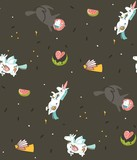 Hand drawn vector abstract graphic creative cartoon illustrations seamless pattern with cosmonaut unicorns with old school tattoo,pegasust and planets in cosmos isolated on black backgroun - 202608809