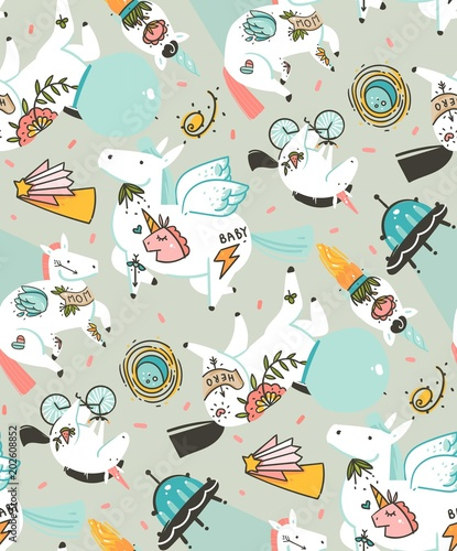 Cotton fabric Hand drawn vector abstract graphic creative cartoon illustrations seamless pattern with cosmonaut unicorns with old school tattoo,pagasus and spaceship in cosmos isolated on pastel background
