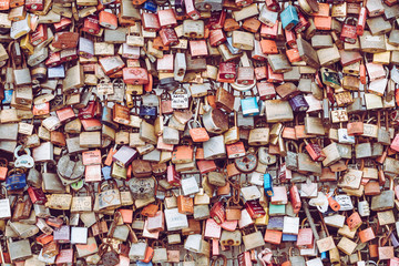 Thousands of love locks which sweethearts lock to the Hohenzollern Bridge to symbolize their love on August 26 in Koln, Germany