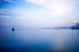 Cool blue minimalist Chicago skyline landscape - 202625044