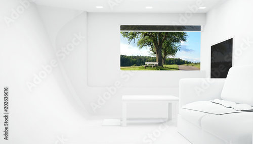 white 3d rendering room