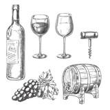 Wine sketch vector illustration. Bottle, glasses, grape vine, barrel, corkscrew, hand drawn isolated design elements. - 202638428