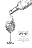 Wine pouring from bottle into glass, sketch vector illustration. Hand drawn label design elements - 202638434