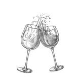 Two wine glasses with splash drinks, sketch vector illustration. Hand drawn label design elements - 202638482