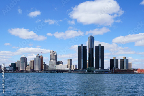Detroit Renaissance Center during a beautiful day view from Windsor, Ontario, Canada.                             © Studio Specialty