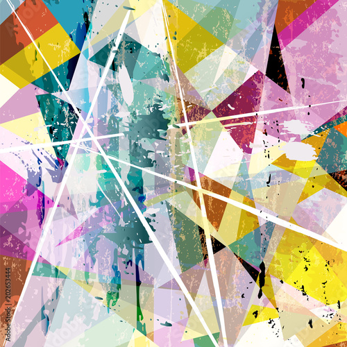 Fotobehang Abstract met Penseelstreken abstract background composition, with paint strokes, splashes and triangles