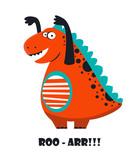 Funny cartoon, cute dinosaur. vector