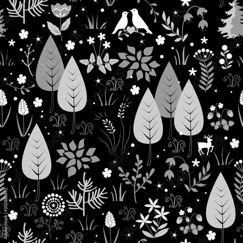 Cotton fabric Black and white pattern with birds, flowers, and trees. Forest background