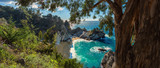 A panoramic view of McWay falls along the Big Sur coast of California.
