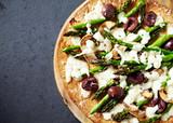 Rustic Flat Bread Pizza with Green Asparagus, Mushrooms, Kalamata Olives and Mozzarella - 202671411