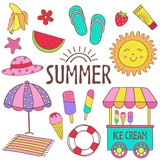 set of isolated summer icon part 1 - vector illustration, eps