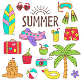 set of isolated summer icon part 2 - vector illustration, eps