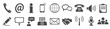 Set grey contact icons - stock vector