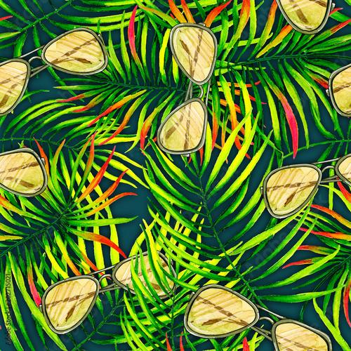 zielone-liscie-palmowe-i-okulary-przeciwsloneczne-tekstura-wzor