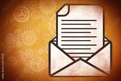 list w kopercie na pomarańczowym tle