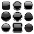 Glass 3d buttons set. Black round and square icons with chrome frame