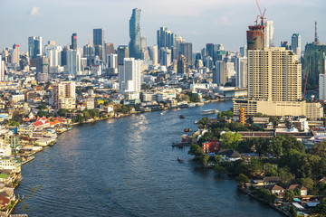 Bangkok city buildings cityscape, high buildings of Thailand