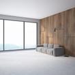 Wood wall minimalistic living room gray sofa side